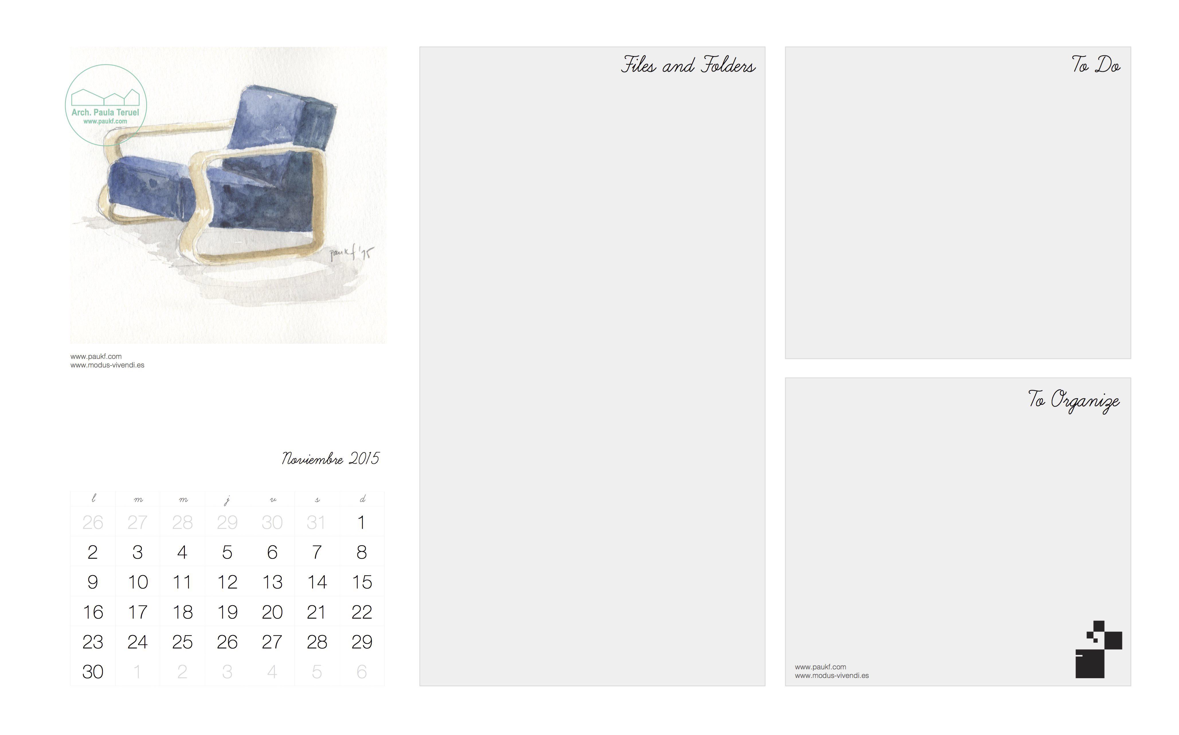 November calendar Noviembre Calendario acuarela paukf watercolor modus vivendi arquitectura Alvar Aalto architecture design armchair sillon