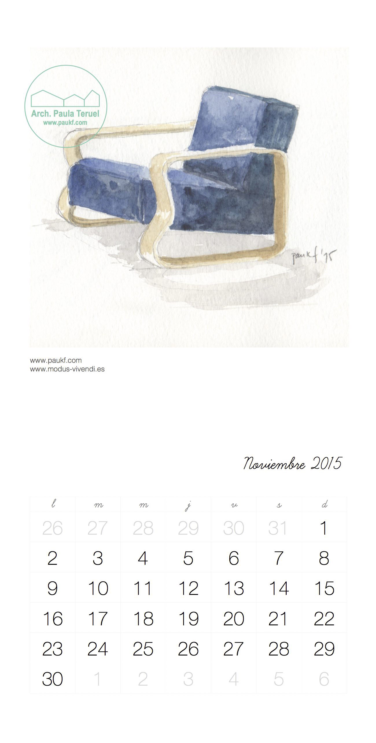November calendar Noviembre Calendario acuarela paukf watercolor modus vivendi arquitectura Alvar Aalto architecture design chair silla